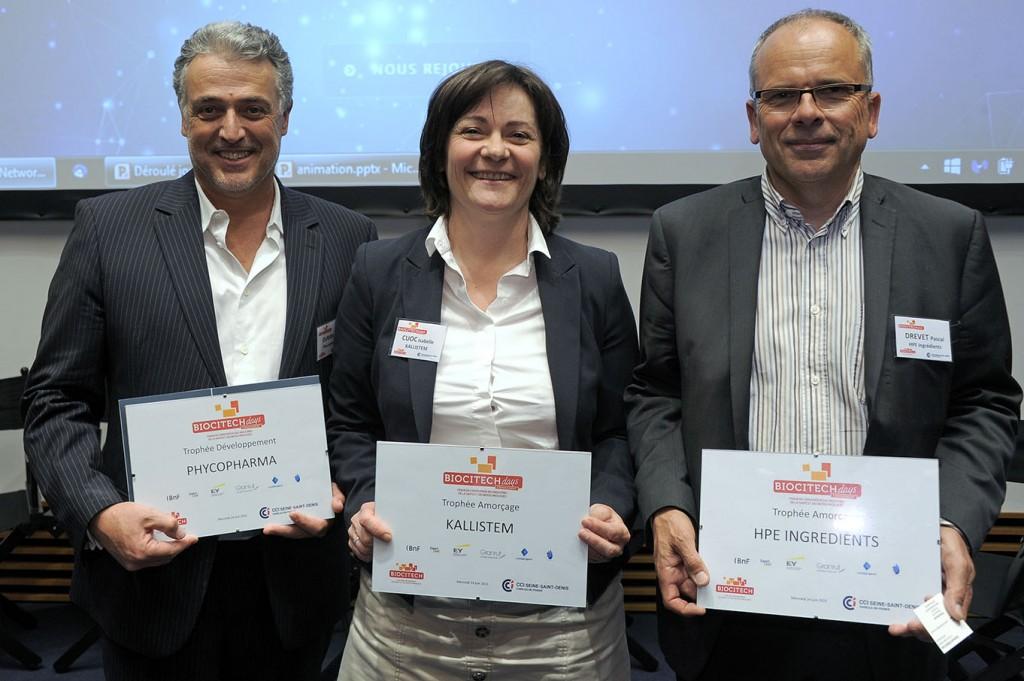 Bertrand-Elie Durand, CEO de Phycosource, Isabelle Canes-Cuoc, CEO de Kallistem, et Pascal Drevet, CEO de HPE Ingredients