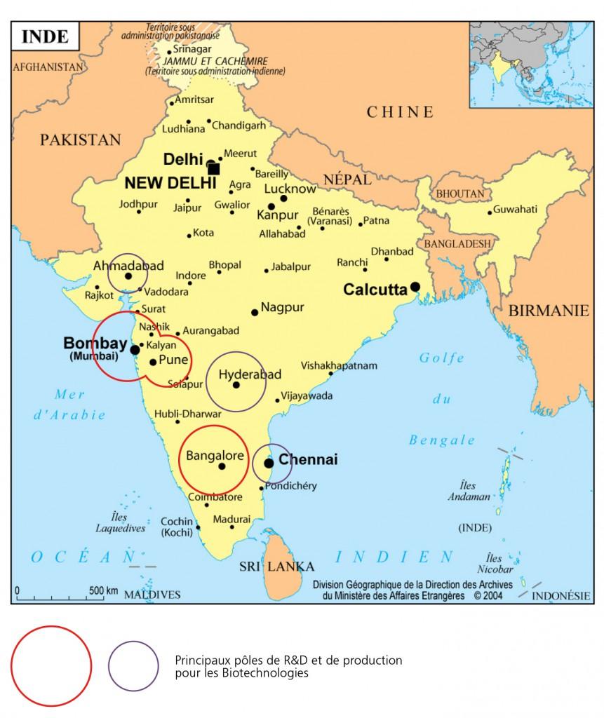 Carte des biotechnologies en Inde
