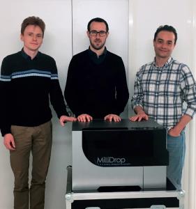 Au centre, Laurent Boitard, CEO et fondateur de Millidrop