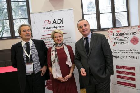 Jean-Luc Fouco, président du directoire ADI, Anne-Laure Bedu, conseillère régionale, Marc-Antoine Jamet, président de la Cosmetic Valley.  Photo Arnaud Lombard